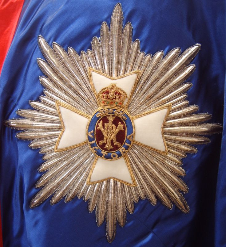 GCVO star ~ A detailed view of a stumpwork and goldwork embroidered star of a Knight or Dame Grand Cross of the Royal Victorian Order