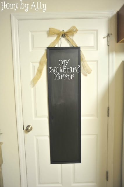 Make your own chalkboard with a $5 mirror from Walmart and Chalkboard paint!!