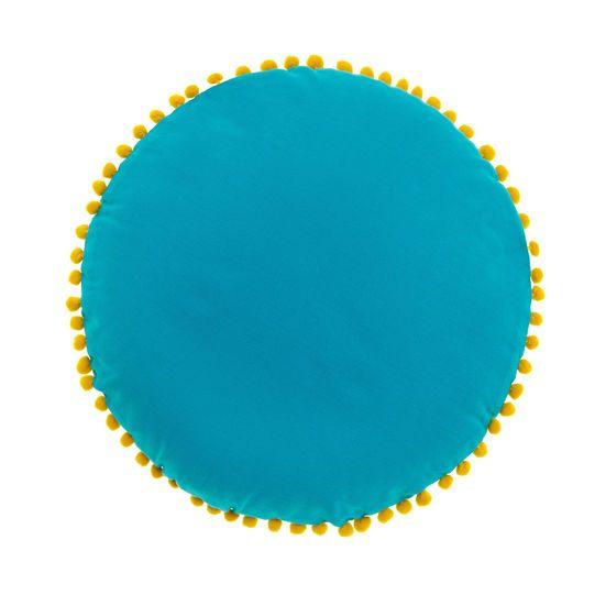 Cuscino rotondo in puro cotone. Pon pon in contrasto colore applicati. Imbottitura inclusa.
