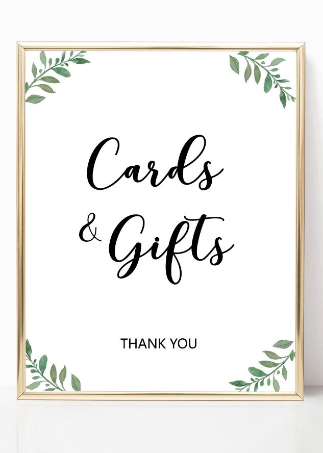 Greenery Cards And Gifts Sign Garden Wedding Ideas Wedding Decor Baby Shower Gift Table Signs F Wedding Gift Table Signs Gift Table Wedding Gift Table Signs