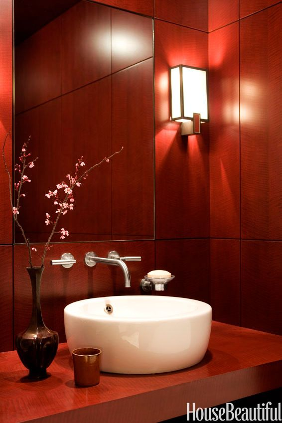 8 deep red rooms for fans of marsala the pantone color of the year 2015 - Red Bathroom 2015
