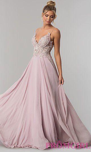 ad895eba2 Long V-Neck Open-Back Chiffon Prom Dress in 2019 | p r o m | Prom ...