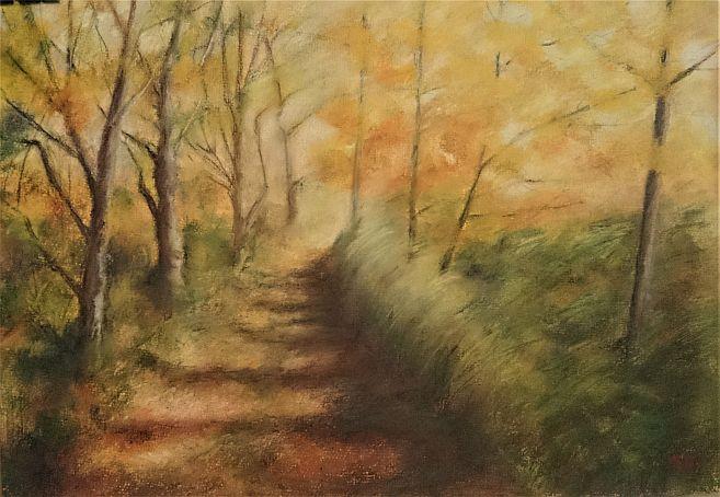 Mezi rybníky, suchý pastel, 40x30