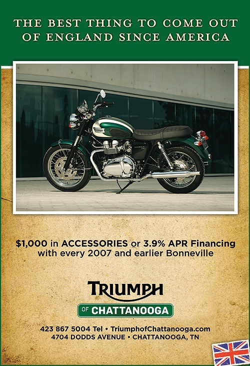 Print ads for Triumph motorcycle dealer
