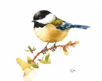 Ruby-crowned Kinglet Original Watercolor Bird by CMwatercolors