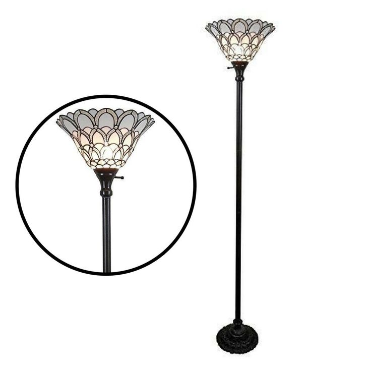 Floor Torchiere Lamp Shade Tiffany Style 72 inch White Home Light Metal Glass #Unbranded #StainedGlass