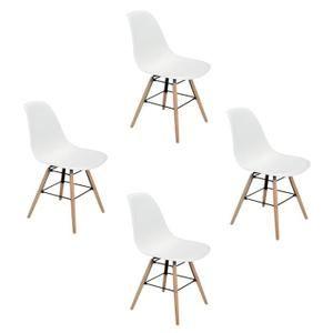 Lot de 4 nordique chaises style scandinave Blanc