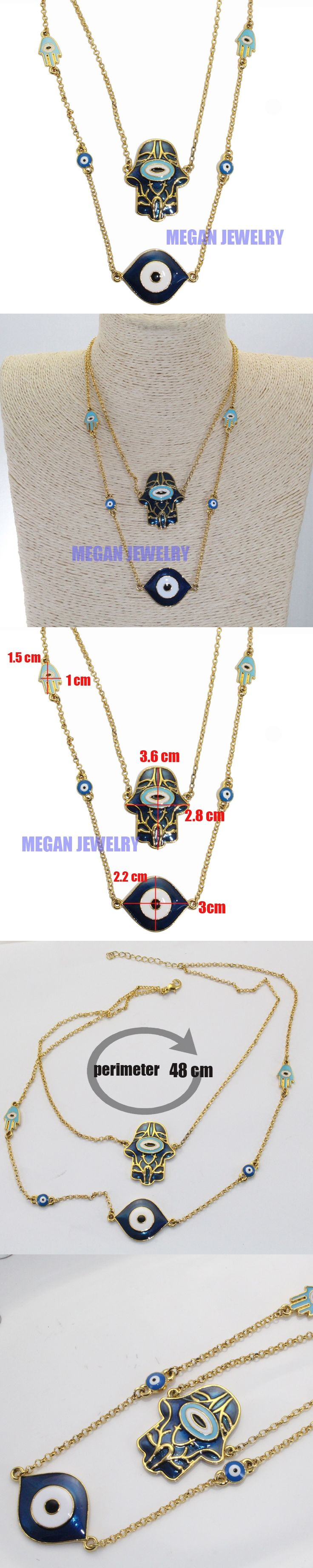 muslim turkish evil eye Hamsa Hand Of Fatima necklace, islam jewelry fashion 51cm necklace