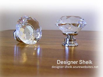 CLEAR Crystal glass Mirror knobs / handles (30mm)