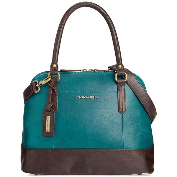Tignanello Vintage Leather Status Accordion Satchel ($122) ❤ liked on Polyvore featuring bags, handbags, peacock, satchel bag, tignanello handbags, tignanello satchel, satchel handbags and peacock handbag
