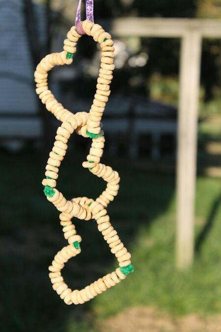 Pipe cleaners and cheerios bird feeders. Awesome craft for the kids