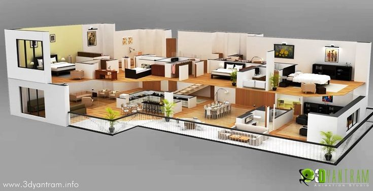house 3d wall cut floor plan design floorplans