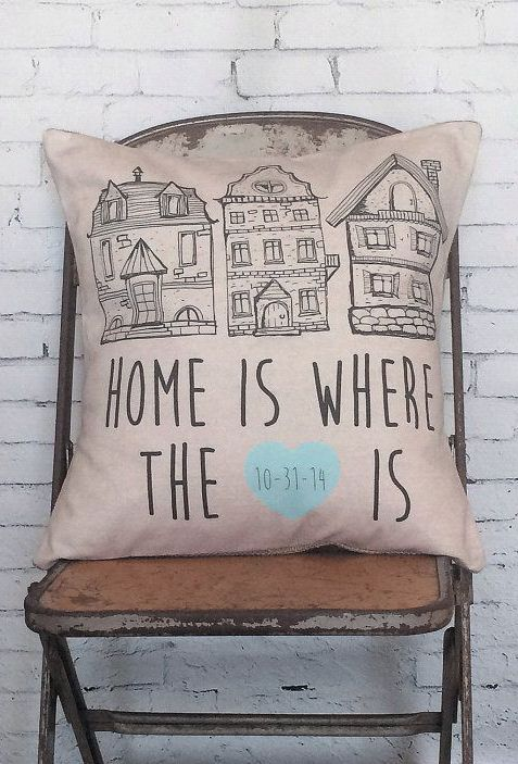 Pillow Cover Housewarming Gift Home Is Where The Heart Is