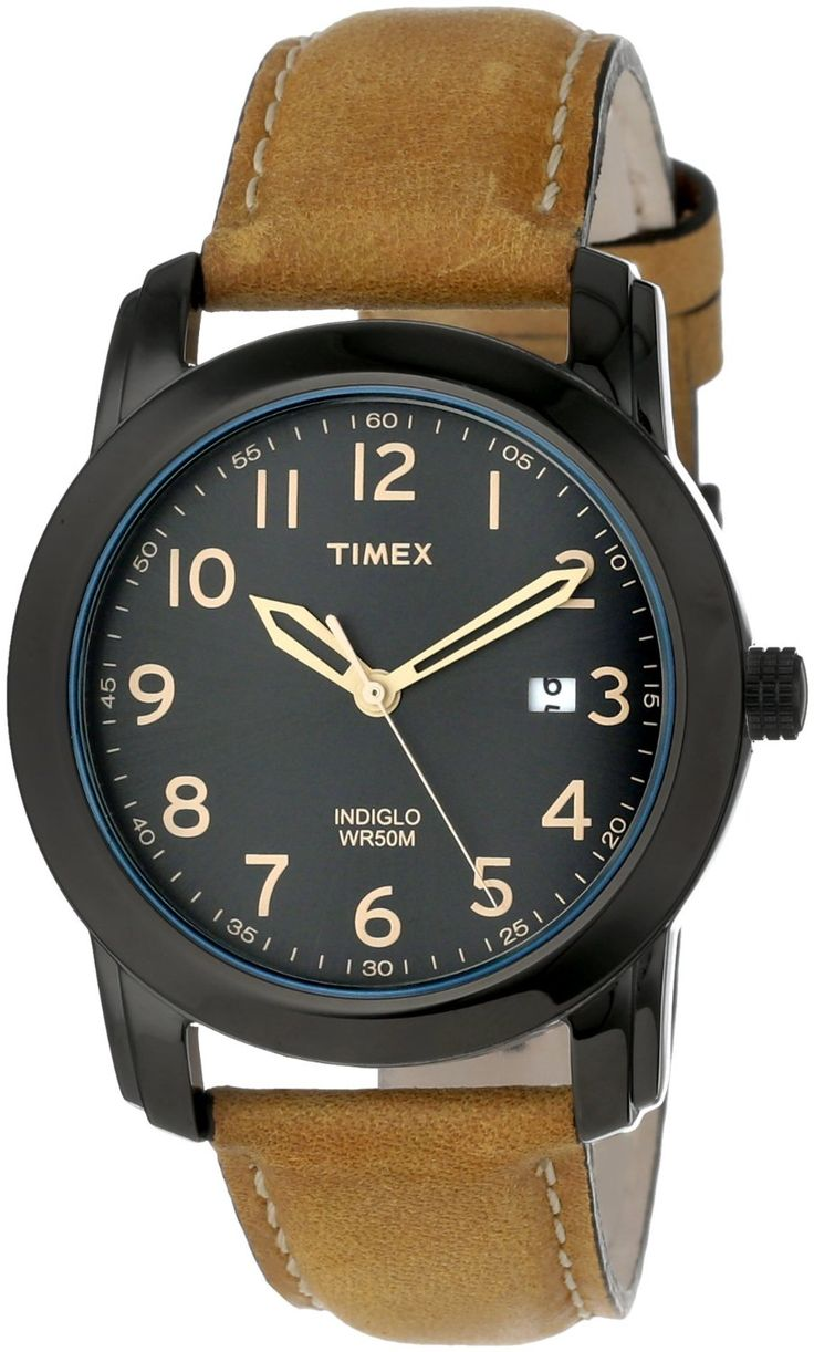 Timex mens t2p1339j elevated classics black dial tan leather strap watch watches for Black tan watch