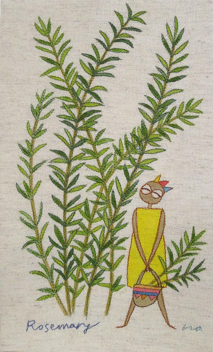 "herb no.5 ""rosemarry"" needlework illustration Ⓒ Nagako Ono HAPPa_Ya #embroidery #herbs"