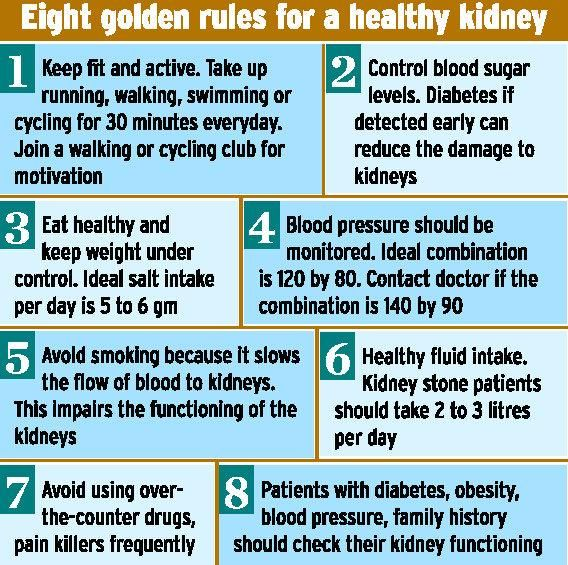 EIGHT GOLDEN RULES FOR HEALTHY KIDNEYS