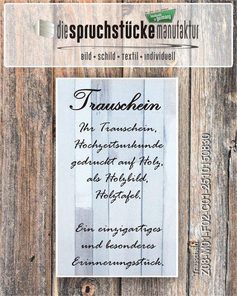 Ihr Trauschein, Hochzeitsurkunde auf Holz gedruckt von Die Spruchstücke Manufaktur auf DaWanda.com