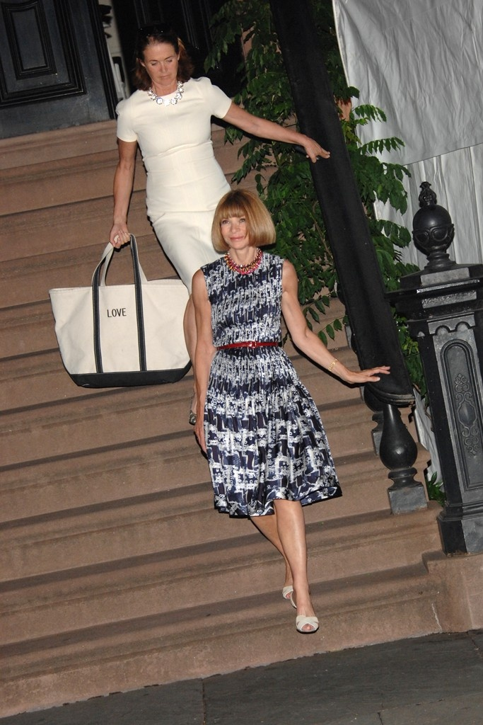Anna Wintour and Lisa Love at the dinner Sarah Jessica Parker hosted for Obama