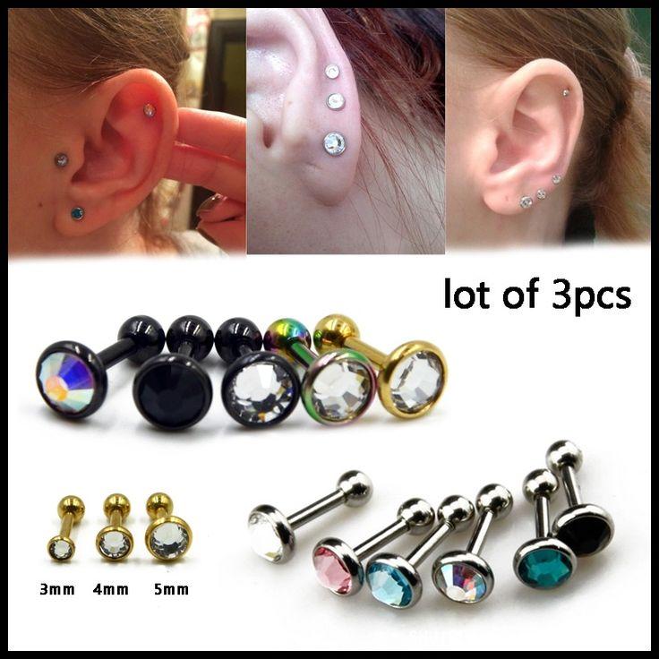 316l Acciaio Chirurgico 3 Pz Piatto CZ Gem Ear Cartilagine Tragus Piercing Stud Bar Top Superiore Labret Anello Per La Ragazza Sexy Piercing Gioielli