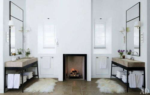 sinks and a fireplaceWine Country, Masterbath, Fireplaces, Napa Valley, Sinks, Master Bath, Bathroom, Architecture Digest, Design
