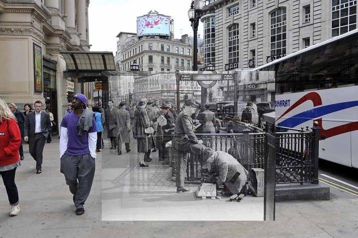 A un soldado le lustran los zapatos en las afueras de la estación del metro de Piccadilly.