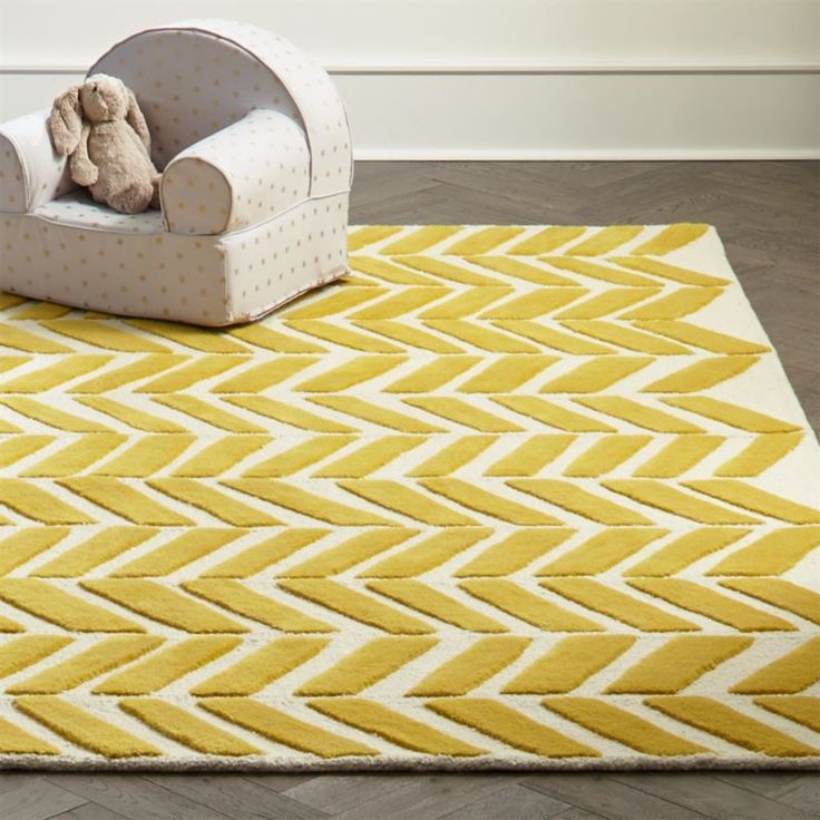 Shop Yellow Chevron Rug.  You could put your Gold Bars Rug in a vault for safekeeping.  But you should probably put it on your floor and enjoy its 100% wool softness and bold chevron pattern.  It was designed just for us by Blake Kahan.