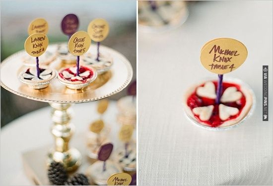 mini pies used for escort cards | CHECK OUT MORE IDEAS AT WEDDINGPINS.NET | #weddingcakes