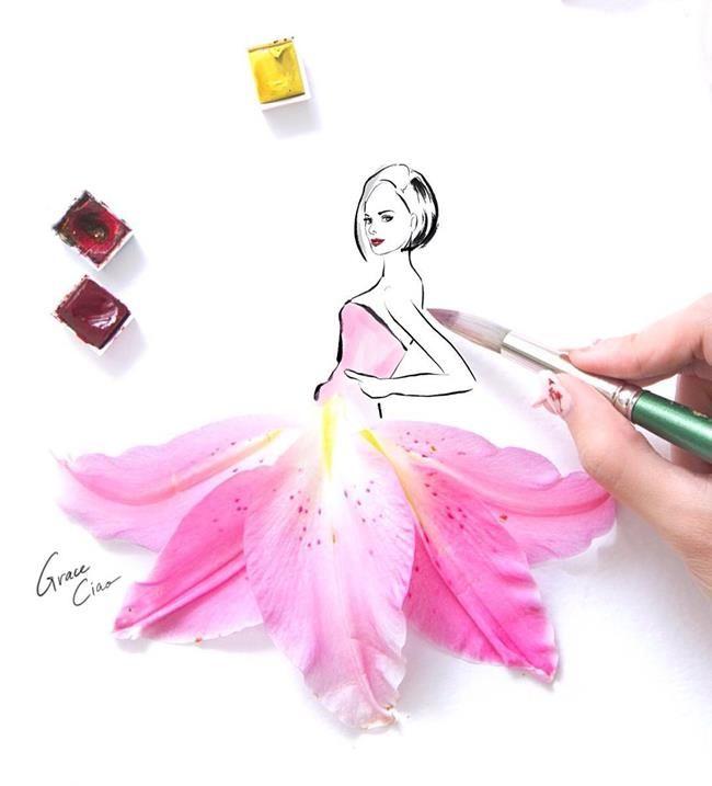 Çiçeklerin Gücü Adına: Çiçekli Moda İllüstrasyonları ile Kadın Elbiseleri - Grace Ciao Sanatlı Bi Blog 31