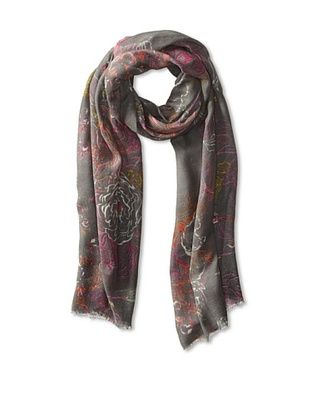 67% OFF Saachi Women's Floral Etching Scarf, Grey/Fuchsia, One Size