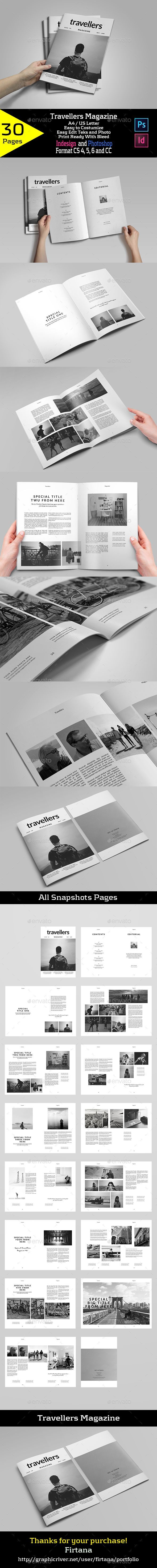 Travellers Magazine — Photoshop PSD #photography magazine #photo album • Available here → https://graphicriver.net/item/travellers-magazine/19953690?ref=pxcr