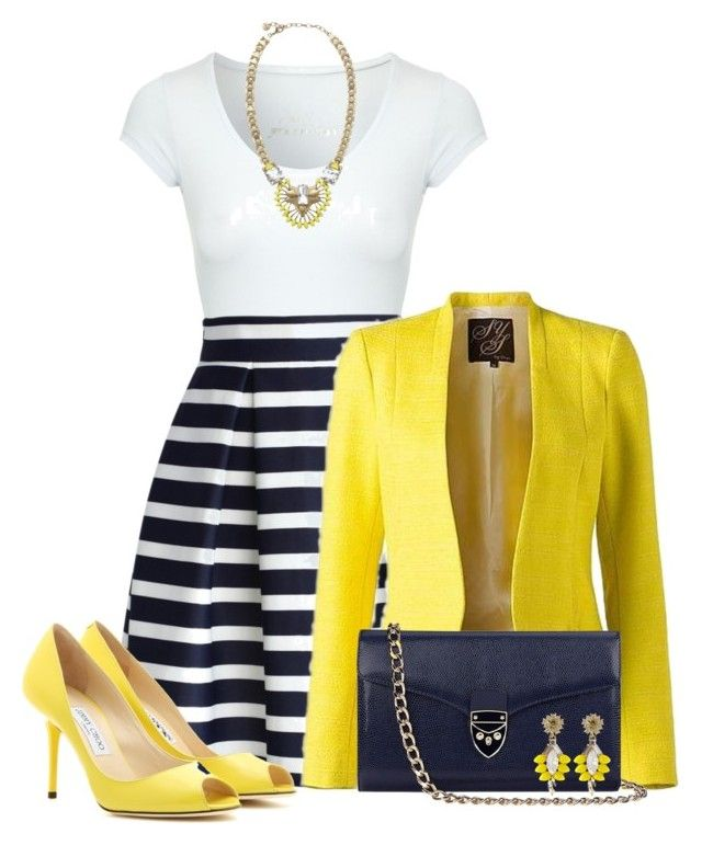 Navy & Yellow by stay813 on Polyvore featuring Jane Norman, Chicwish, Jimmy Choo, Aspinal of London and Stella & Dot