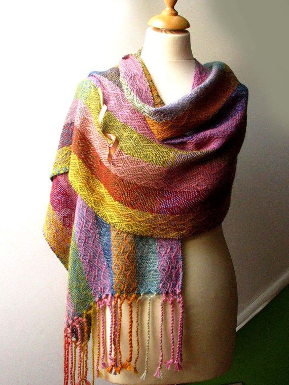Handwoven shawl in warm and smooth alpaca, silk and merino wool - multicolor, soft - made to order
