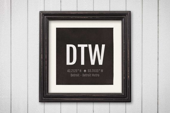 Detroit Airport Code Print - DTW Aviation Art - Michigan Airplane Nursery Poster, Wall Art, Decor, Travel Gifts, Aviation Gifts