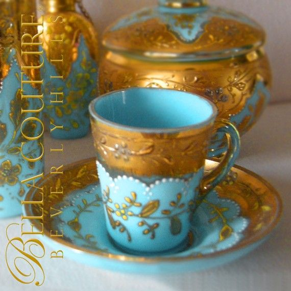 Gorgeous antique Moser Art Glass Demitasse Tea Cup & Saucer Set, 1880-1890s. -- robin's egg blue opaline with applied decorations of 22k gold and white enamel 'jewels'  ~ at bellacouturegems on Etsy