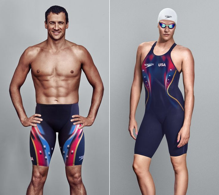 Team USA swimmers Ryan Lochte, left, and Missy Franklin show off the new Speedo Fastskin LZR Racer suits. (Photos provided by Speedo)