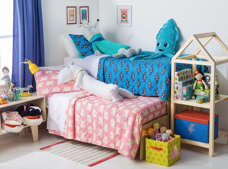 Los quilts y cojines más entretenidos para el dormitorio de tus hijos están en Casaideas. ¡Ven a a visitarnos!