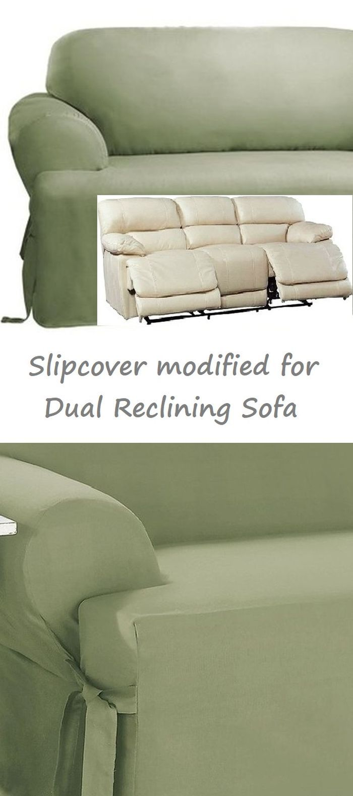 Dual Reclining Sofa Slipcover T Cushion Cotton Sage Green Sure Fit