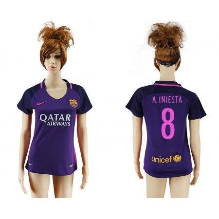 Barcelona Trøje Dame 16-17 #Andres Iniesta 8 Udebanetrøje Kort ærmer,208,58KR,shirtshopservice@gmail.com