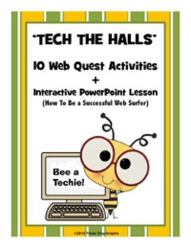 """This """"Tech the Halls"""" technology unit includes an introductory interactive PowerPoint lesson entitled """"How to Search the Web Successfully."""" plus 10 high interest web quests. There is an accompanying worksheet for students to complete during the PowerPoint lesson, plus a 1/2 page search guide for them to use as they work on web quests."""