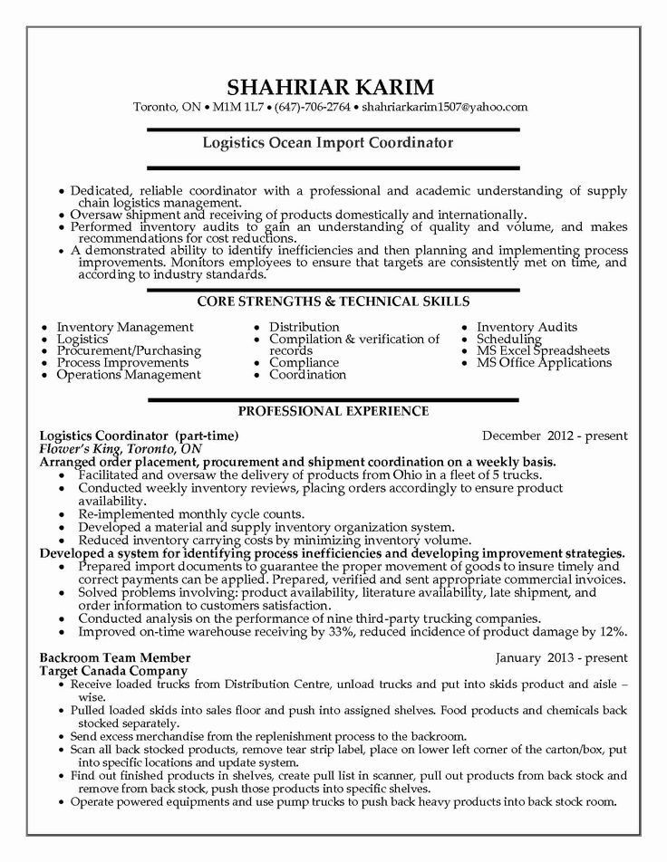 Logistic Coordinator Resume Sample Logistic Coordinator