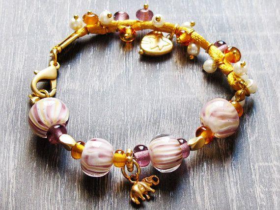 Purple Topaz Lampwork Bracelet Glass Bead by GlassHouseLampwork