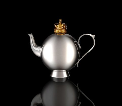 A teapot to mark the 60th anniversary of the Queen's coronation. Designed by Nick Munro and created by a Sheffield-based silversmith. Gold plated coronation crown.