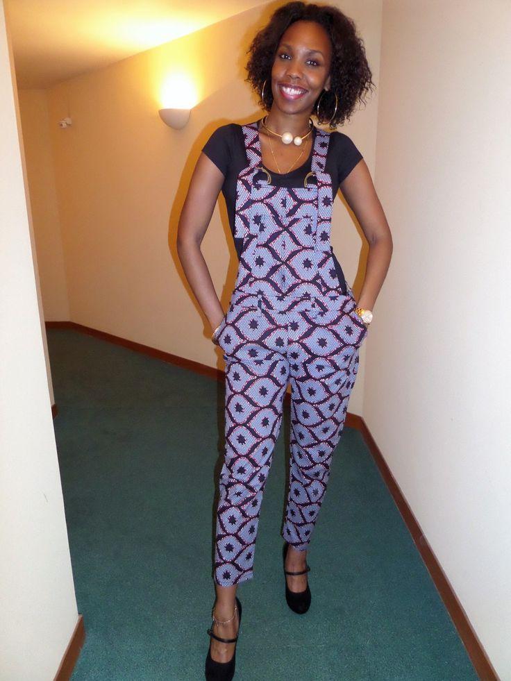 Salopette pantalon en wax (pagne africain)  Pantalons, jeans, shorts par pagnshopea