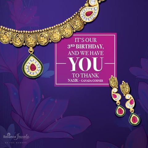10% Off* On MRP Of Diamond Jewellery. It's our 3rd Birthday. And we have you to thank. Come, join us in the celebration at our Nasik (Canada Corner) showroom. Reliance Jewels Be The Moment http://storelocator.ril.com/jewels/  #Reliance #RelianceJewels #Jewels #Jewellery #Pendant #Diamond #Gold