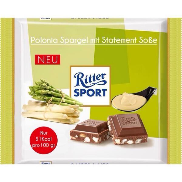 RITTER SPORT Fake Schokolade Sorte Spargel mit Soße