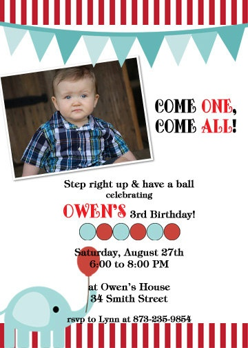 Printable Circus Birthday Party Invitation by cohenlane on Etsy. Perfect colors
