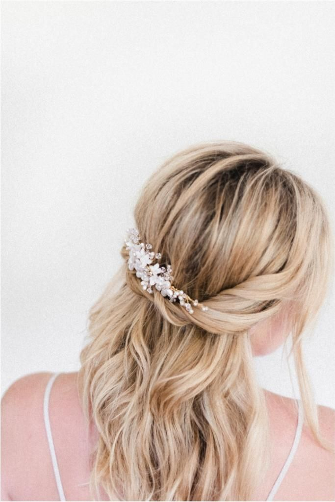 Half up half down with a pearl bridal hair comb (I would do daisies though).. I kind of imagine something simple like this. I don't think I would fuss much with my hair, because it never stays in an up-do anyways... even though I kinda might want an up-do. But I almost more want my hair down in loose curls or just curls.. of course I'd have someone do it so it wouldn't come out in an hour haha.