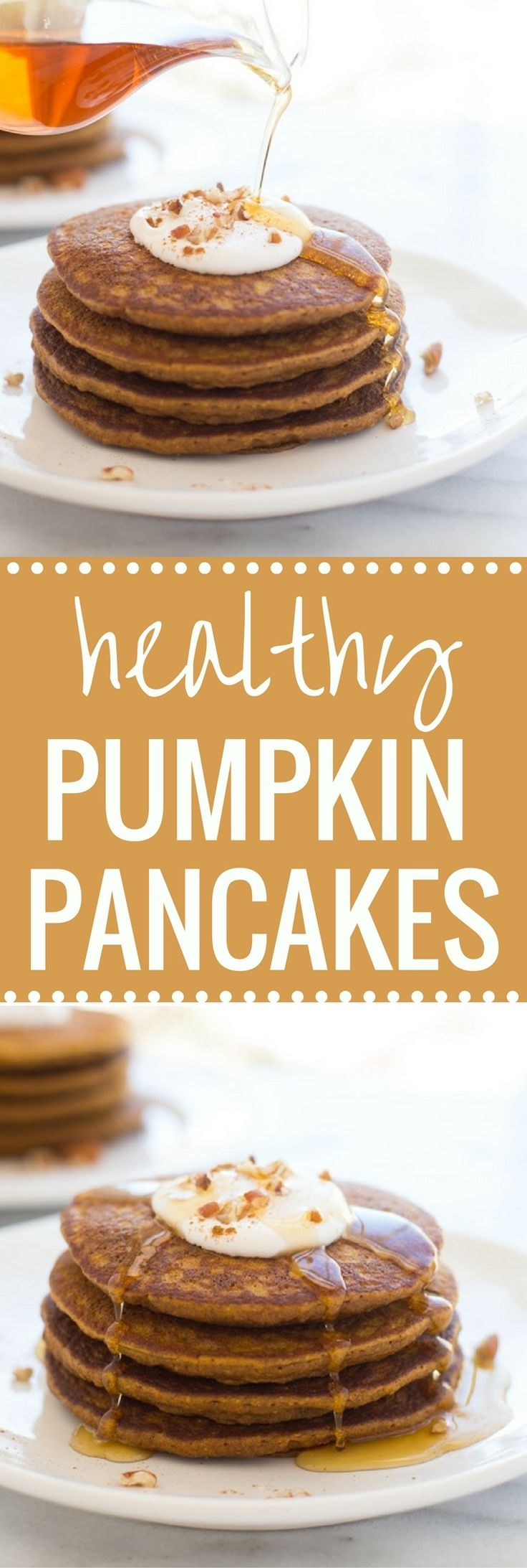 Healthy Pumpkin Pie Pancakes- tastes AMAZING and are made with healthy ingredients that will keep you full for hours! (gluten-free & dairy-free)