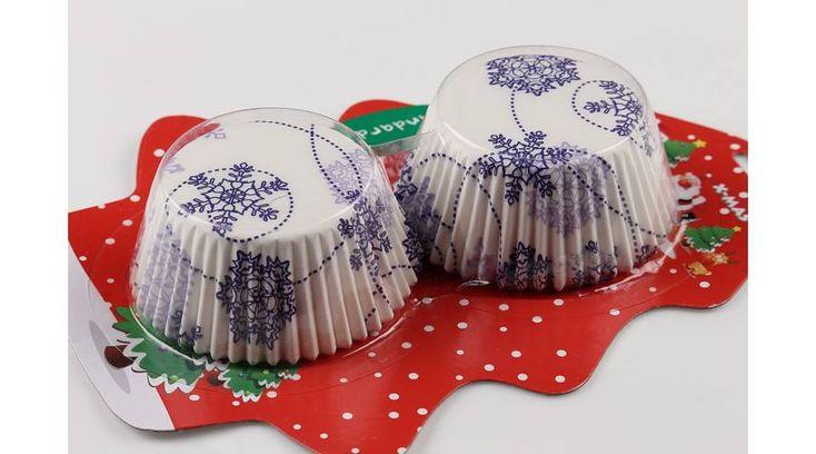 Karácsonyi hópelyhes muffin papír 50 db - Süss Velem.com