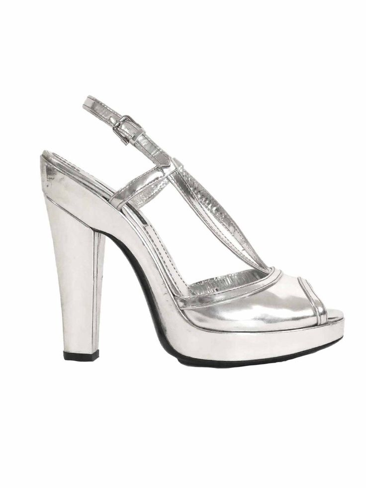 Burberry | Metallic Platform Leather Sandals in silver www.sabrinascloset.com